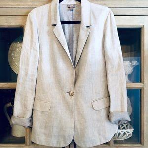J.Jill Linen Jacket Tie At Back & Metallic Theads